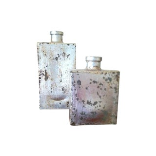 Silver Leafed Recycled Glass Art Vessels - A Pair For Sale