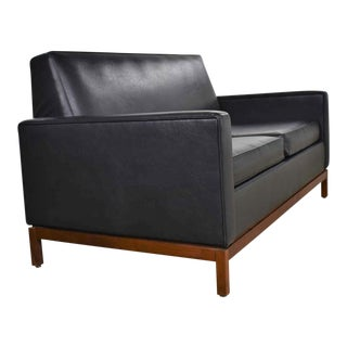 Mid Century Modern Black Faux Leather Love Seat Sofa by Taylor Chair Co. Style Dunbar For Sale
