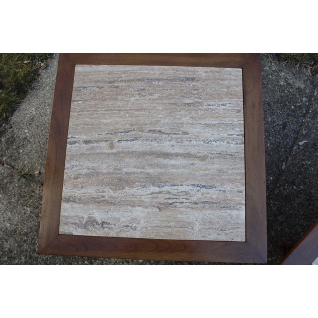 Townsend Manufacturing Co. Dark Travertine End Tables - A Pair For Sale - Image 4 of 13