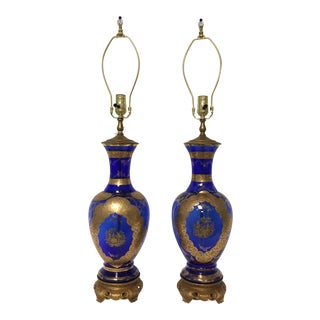 Antique Cobalt Glass Lamps