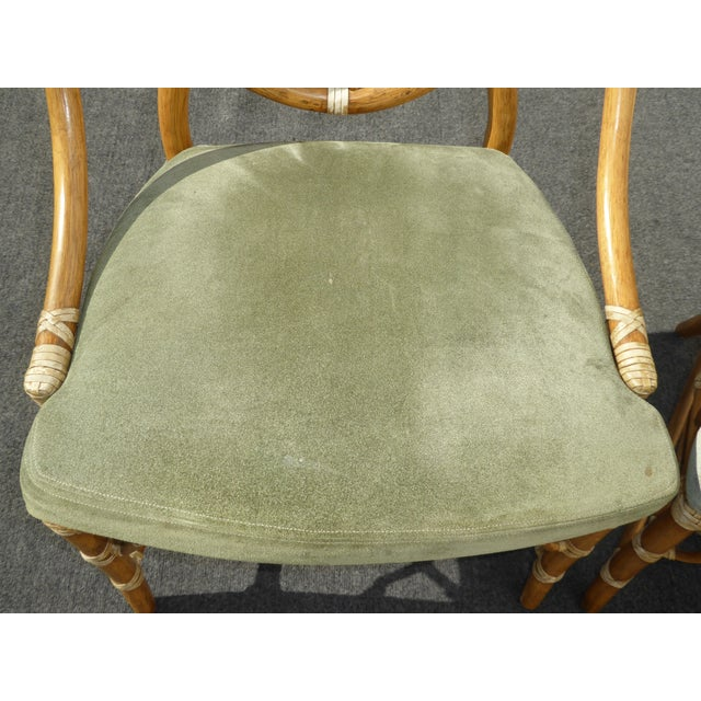 McGuire Cracked Ice Bamboo Rattan Green Suede Leather Arm Chairs - Set of 4 - Image 9 of 11