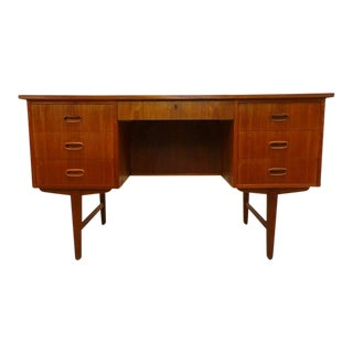 Mid-Century Danish Modern Teak Double Sided Desk For Sale