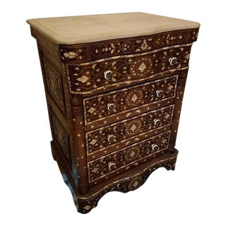 Syrian Mother-Of-Pearl Walnut Wood Chest of Drawers