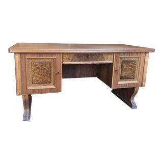 1950s Traditional German Walnut Partner Desk For Sale