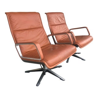 Pair 1970's Leather Lounge Chairs For Sale