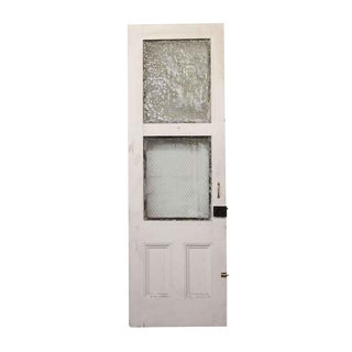 Tall White Door With Two Chicken Wire Glass Panels
