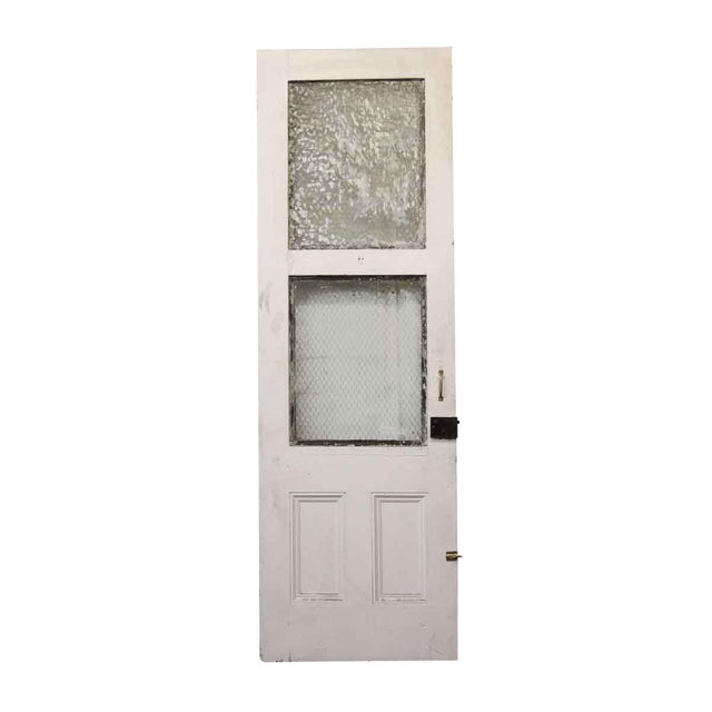 Tall White Door With Two Chicken Wire Glass Panels - Image 1 of 4