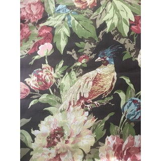 Vintage Schumacher Ashbourne Peony Color Chestnut Linen Fabric- 6 Yards For Sale