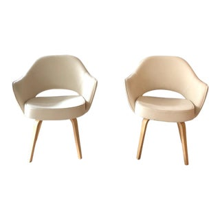 Executive Arm Chairs With Wood Legs in Cream - A Pair For Sale