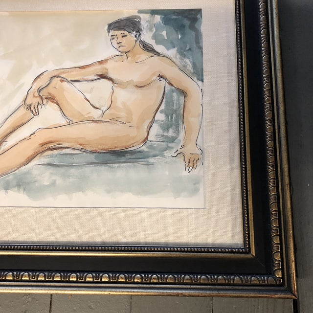 Expressionism Original Vintage Female Nude Watercolor Painting For Sale - Image 3 of 5