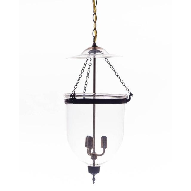 Metal Vintage Glass Bell Jar Pendant Light For Sale - Image 7 of 8