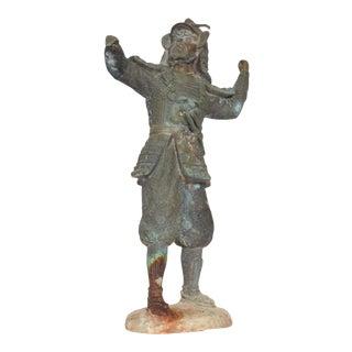 Fine Chinese Bronze Warrior Oriental Statue Vintage For Sale