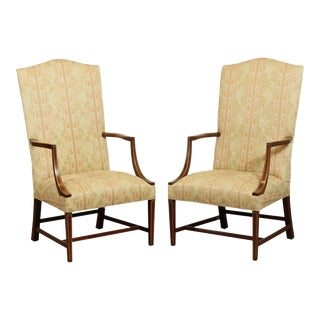 Stickley Colonial Williamsburg Collection Mahogany Inlaid Pair Lolling Armchairs For Sale
