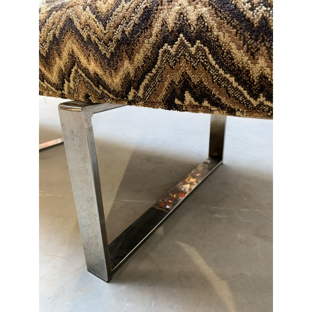 Modern Kravet Missoni Flame-Stitch and Chrome Bench For Sale - Image 9 of 11