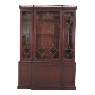 1940s Chippendale Kittinger Colonial Williamsburg Mahogany Breakfront For Sale