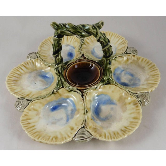 Traditional 19th Century Victorian Majolica Oyster Basket Server For Sale - Image 3 of 5