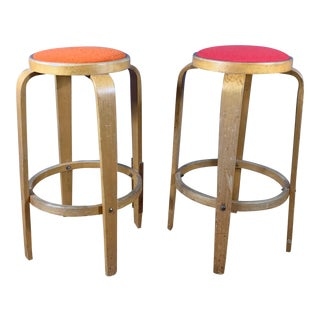 "Mid-Century Bentwood Birch 26"" Stool, Wool Upholstery For Sale"