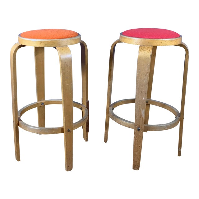 """Mid-Century Bentwood Birch 26"""" Stool, Wool Upholstery For Sale"""