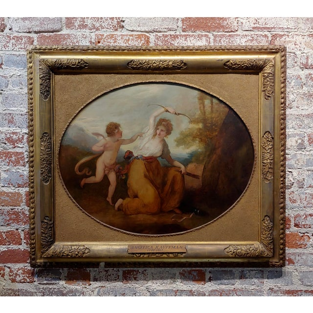 "18th Century Neoclassical ""Cupid & Goddess"" Oil Painting For Sale - Image 9 of 9"