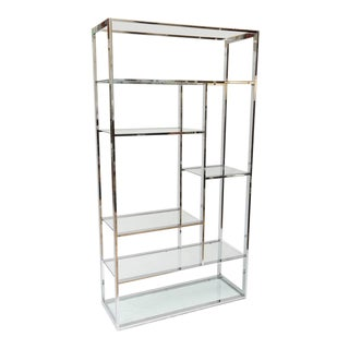 Milo Baughman Style Chrome and Glass Etagere