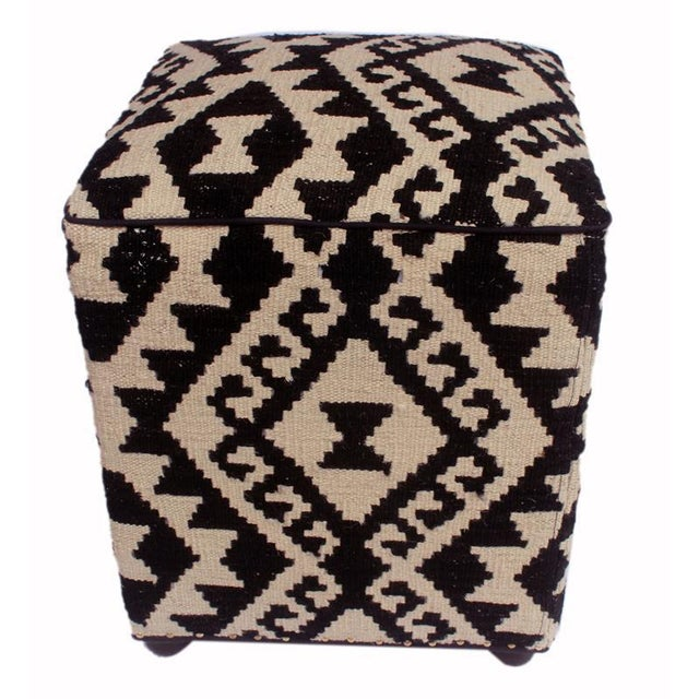 Arshs Dierdre Ivory/Black Kilim Upholstered Handmade Ottoman For Sale - Image 4 of 8