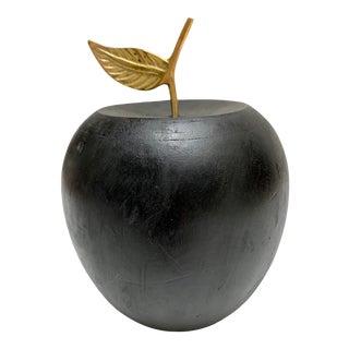 Large Black Wood Desk Decor Apple For Sale