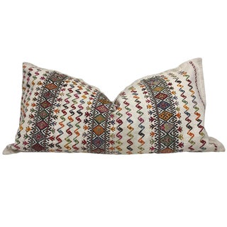 Antique Hand-Embroidered Hemp and Cotton Body Pillow For Sale