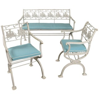 Rare Antique Cast Iron Ship and Anchor Bench and Pair of Chairs For Sale