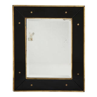 Jacques Adnet Black Glass and Gold Leaf Wall Mirror With Star Detail, 1940 For Sale
