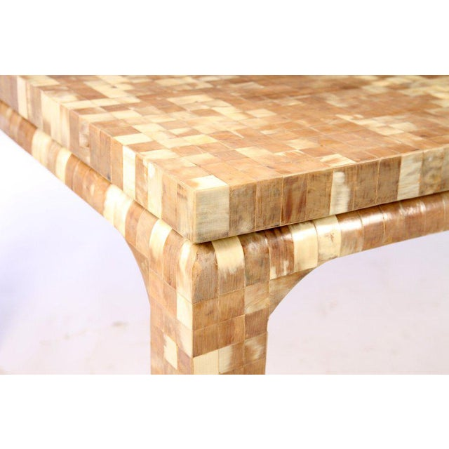 Karl Springer Boho Chic Inlaid Horn Dining Table With Leaves For Sale - Image 4 of 6