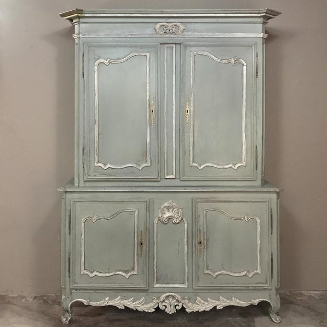 18th Century Country French Painted Provincial Buffet a Deux Corps For Sale - Image 13 of 13