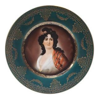 Mid 20th Century Royal Vienna Style Porcelain Woman Portrait Cabinet Plate For Sale
