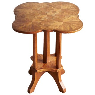 German Biedermeier Clover Top Parquetry Side Table With Starburst Pattern For Sale