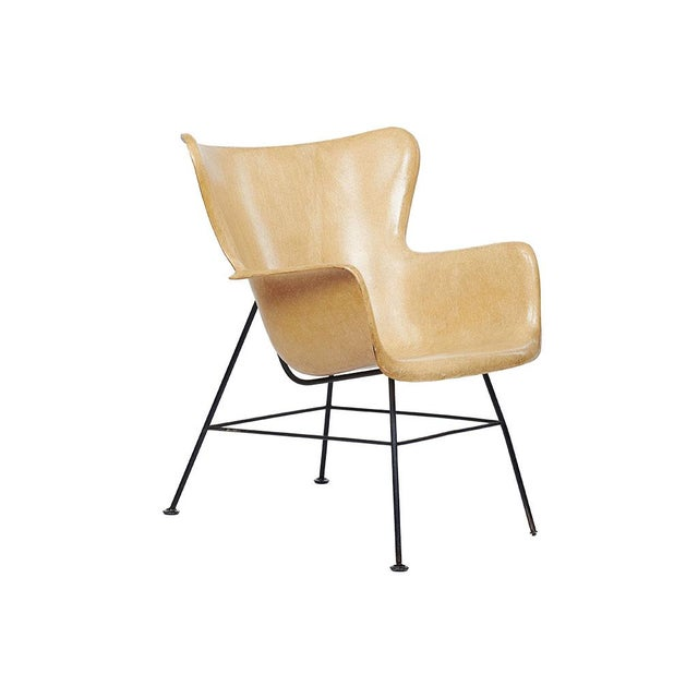 Yellow Mid-Century Modern Lawrence Peabody Wingback Chairs - A Pair For Sale - Image 8 of 9