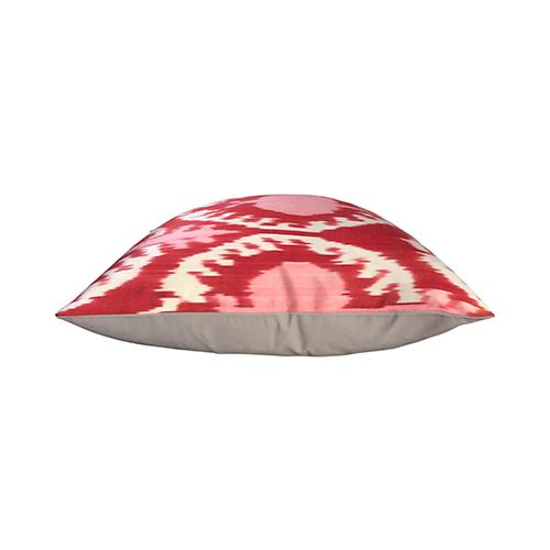 By Kim Salmela, a 19″ x 19″ throw pillow. Pink, rose, and white Turkish silk ikat pillow, single face, beige woven back,...