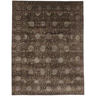 Contemporary Persian Style Brown Wool Garden Rug - 7′8″ × 10′ For Sale