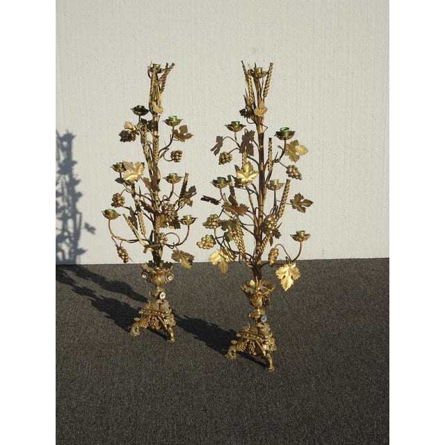 """Pair Tall 36""""h Vintage Gold Table Top Floral Candelabras Brass Candle Holders Light For Sale - Image 4 of 13"""