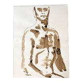 Image of Vintage 1970's Male Nude Watercolor Study Abstract Painting For Sale