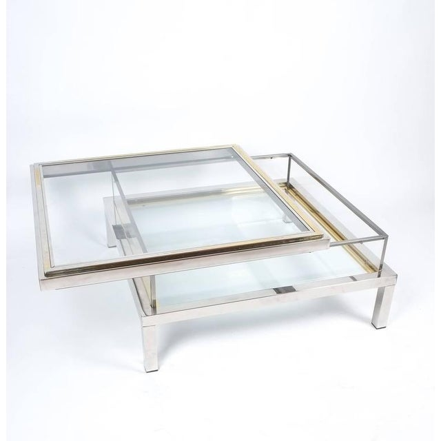 Gold Refurbished Maison Jansen Brass and Chrome Coffee Table with Interior Display For Sale - Image 8 of 8