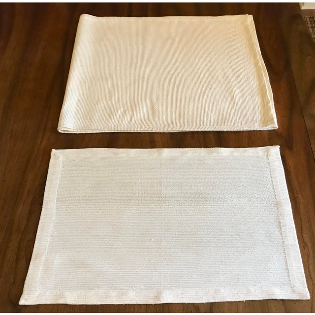 Classic, modern antique Williams Sonoma (late 90s) off-white silk dupioni crush pleated table lines. Clean lines and rich...