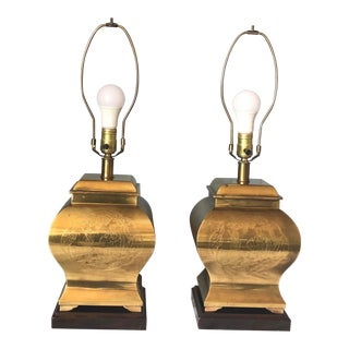 Vintage Frederick Cooper Chinoiserie Style Brass Lamps - a Pair For Sale