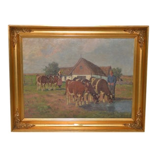 Axel Hansen (Dutch, 1896-1936) Country Farm Landscape W/ Cattle C.1920s For Sale