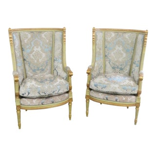 Mid Century Vintage Regency Style High Back Chairs- A Pair For Sale