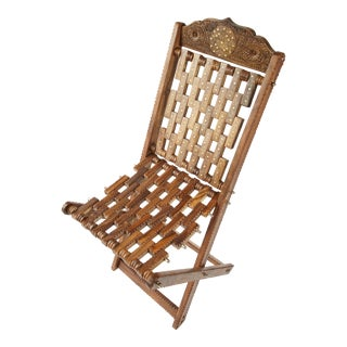 Hand Carved Sheesham Wood Chair With Brass Inlays For Sale
