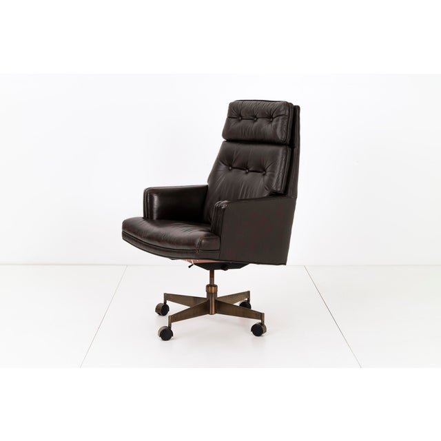 Wormley for Dunbar, high back lounge chair, tilt swivel functions, double cushion semi attached back. Banded seat and...