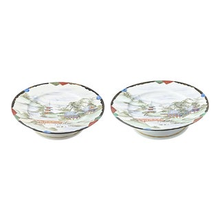 Hand-Painted Japanese Village Scene Compotes - a Pair For Sale