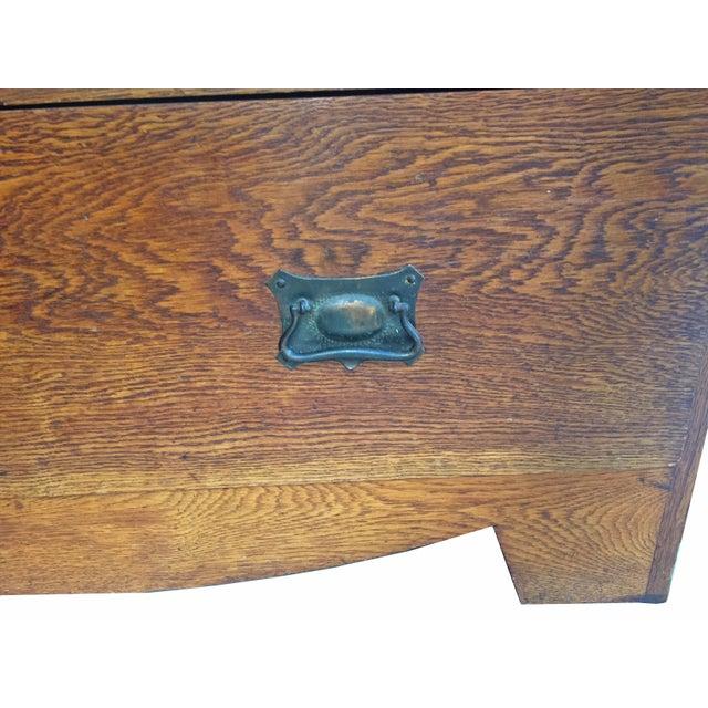 C.1910 Antique Arts & Crafts Oak Armoire - Image 7 of 7