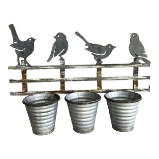 Vintage Iron and Metal Songbird Wall Bracket Planter For Sale