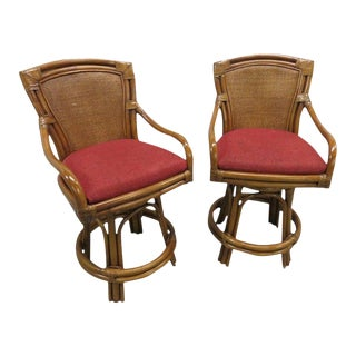 McGuire Style Swivel Bamboo and Leather Barstools - a Pair For Sale