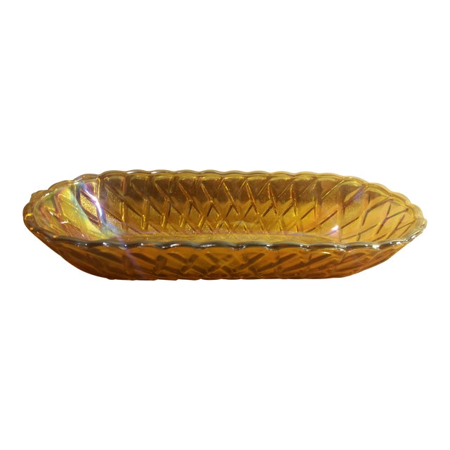 Marigold Carnival Glass Oblong Dish For Sale